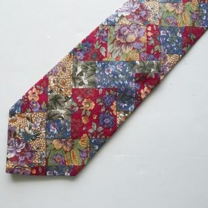 Beans McGee floral print cotton necktie US made